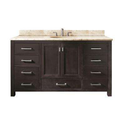 Modero 61 in. W x 22 in. D x 35 in. H Vanity in Espresso with Marble Vanity Top in Galala Beige and White Basins