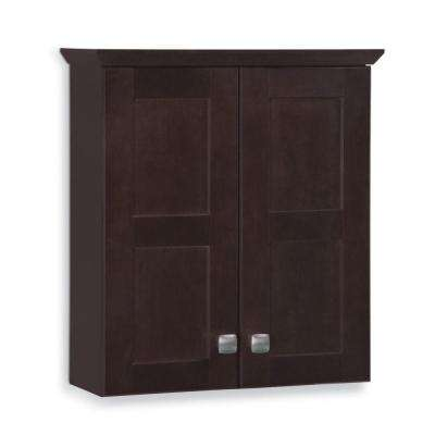 Artisan 19-3/4 in. W x 21-7/10 in. H x 7 in. D Bathroom Storage Wall Cabinet in Java