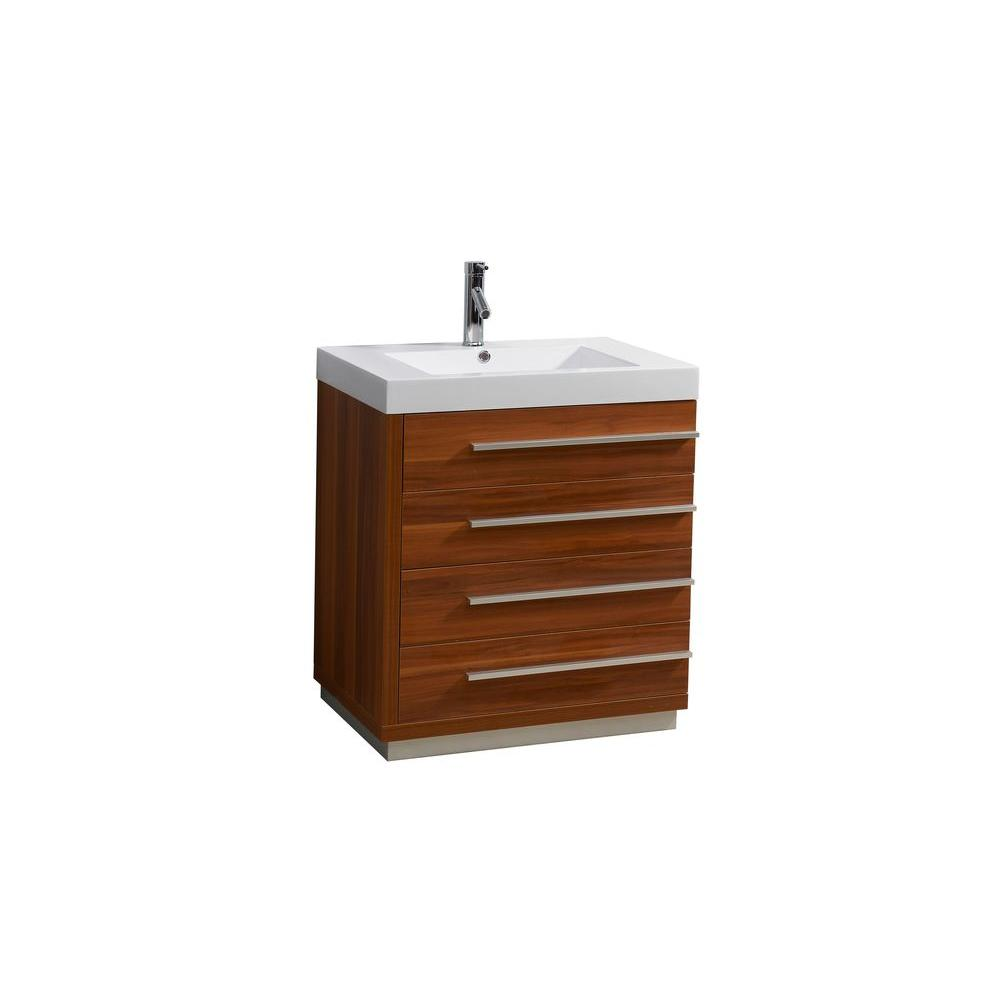 Virtu USA Bailey 30 in. W Single Basin Bathroom Vanity in Plum with Poly-Marble Vanity Top in White with White Basin