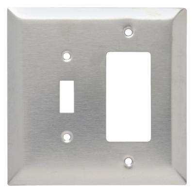 302 Series 2-Gang Jumbo Decorator/Toggle Combination Wall Plate in Stainless Steel