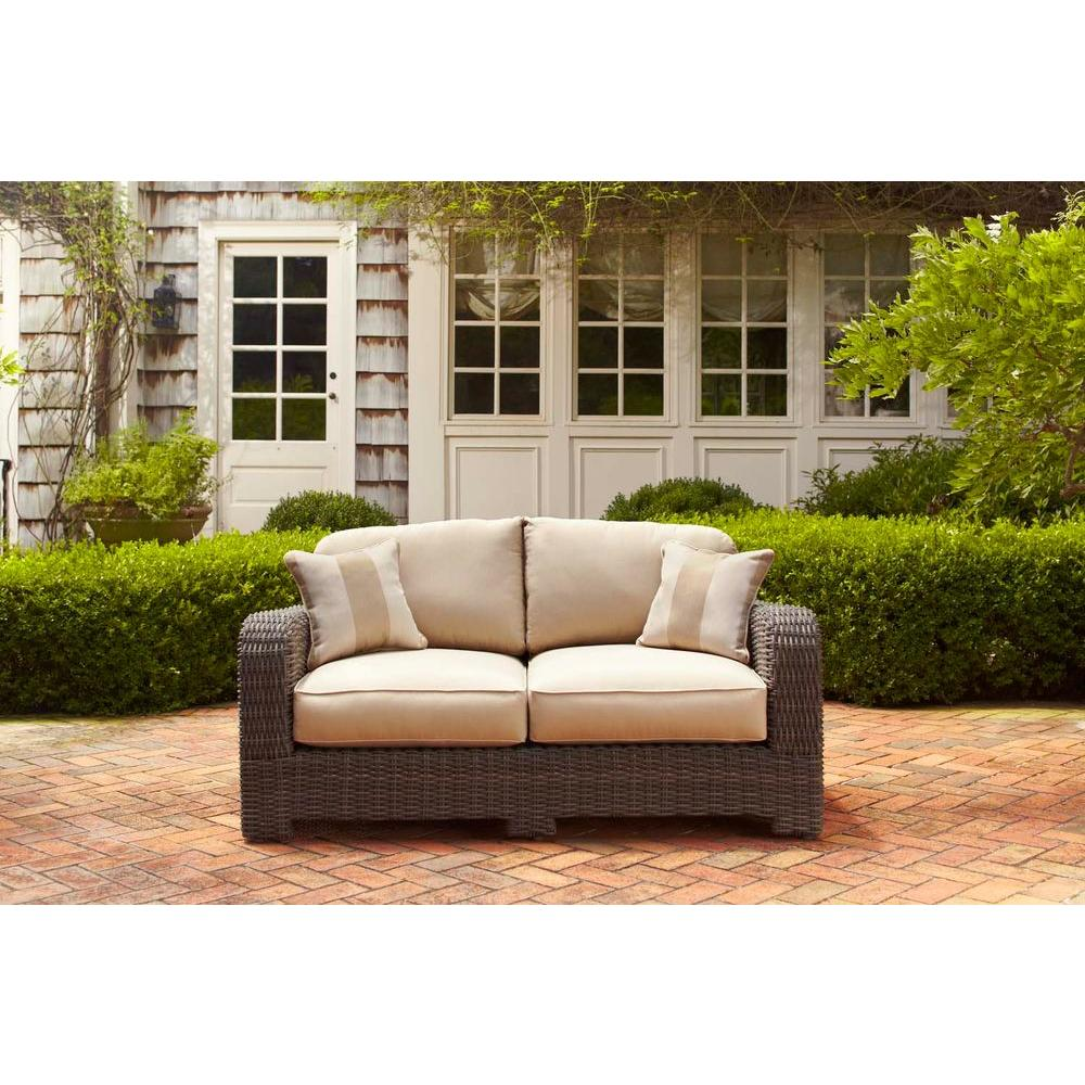 Brown Jordan Northshore Patio Loveseat with Harvest Cushions and Regency Wren Throw Pillows -- STOCK