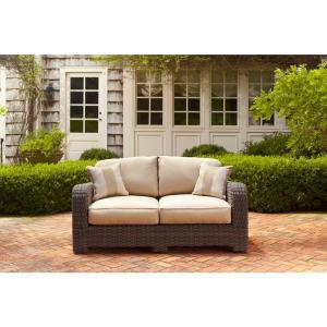Northshore Patio Loveseat with Harvest Cushions and Regency Wren Throw Pillows -- STOCK