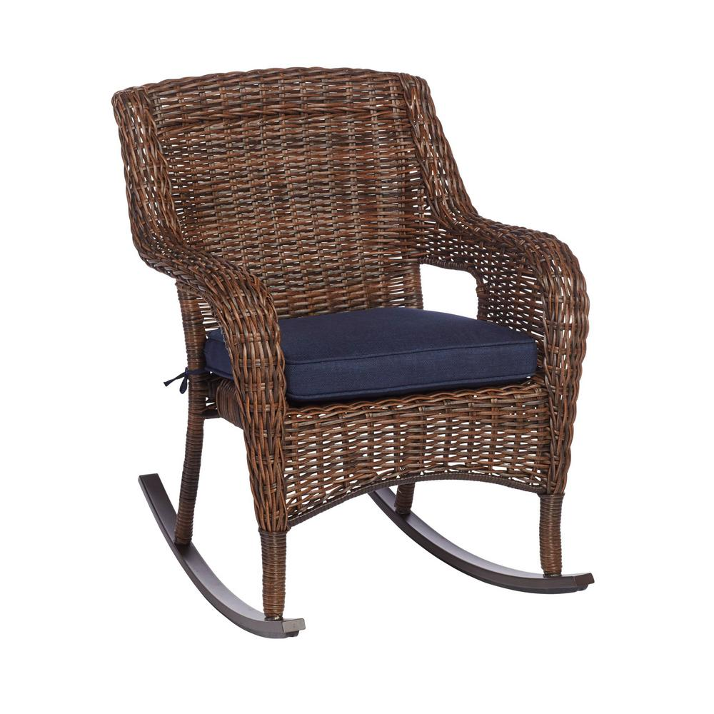 cheap for discount 920ec 6224d Hampton Bay Cambridge Brown Stainless Steel Wicker Outdoor Patio Rocking  Chair with Standard Midnight Navy Blue Cushions