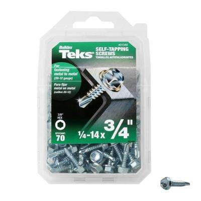 #14 x 3/4 in. External Flange Hex-Washer Head Self-Drilling Screw (70-Pack)