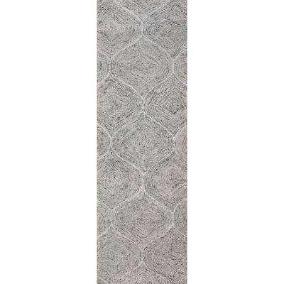 """London Collection Gray 100% Wool 2'6"""" x 8' Hand-Tufted Trellis Area Rug"""