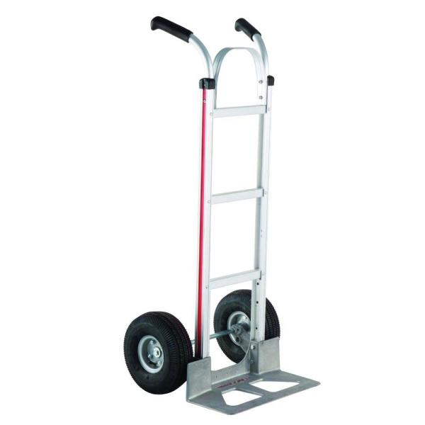 Magliner 500 Lb Capacity Aluminum Modular Hand Truck With Double Grip Handles And Pneumatic Wheels Hmk116ua4 The Home Depot