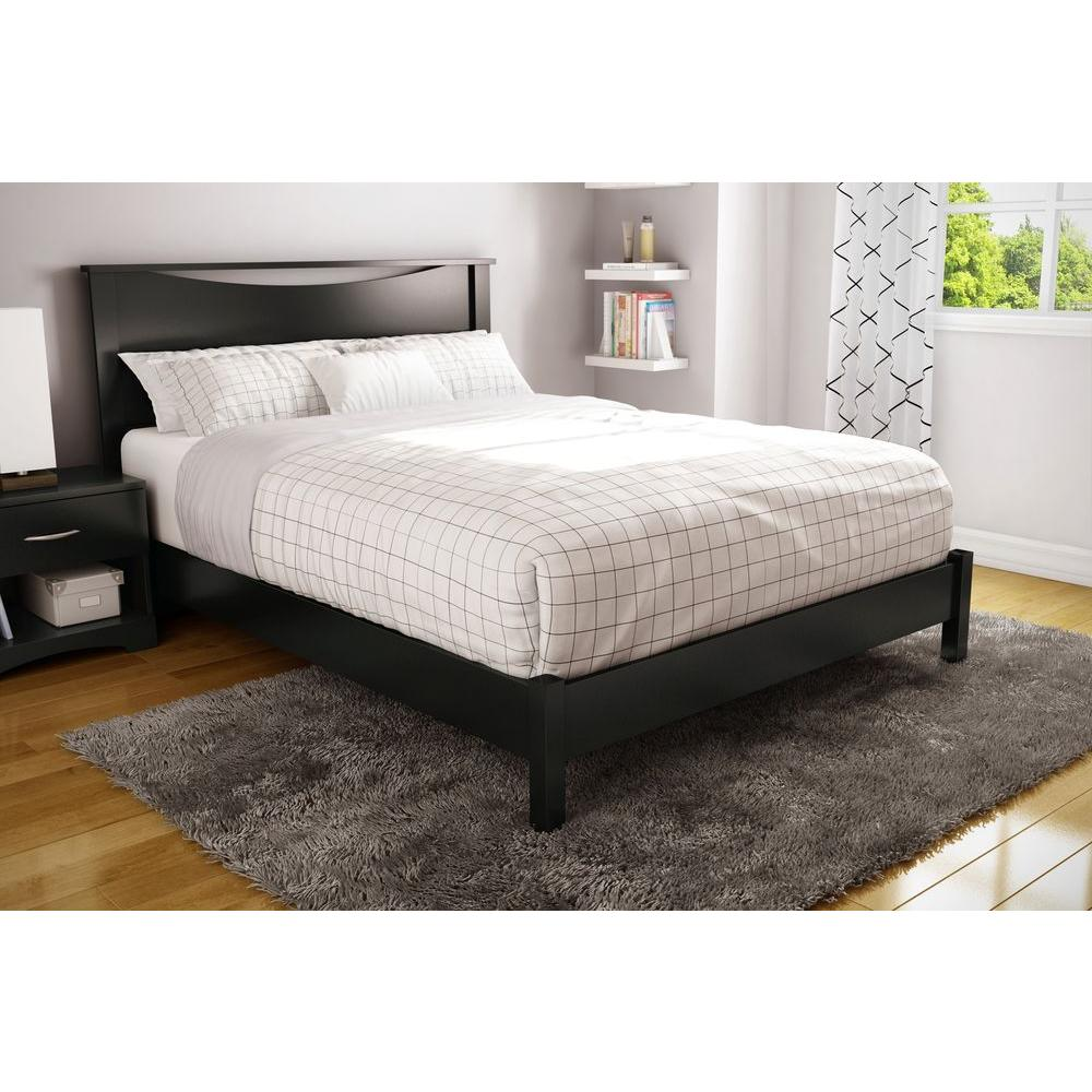 South Shore Step One Queen Size Platform Bed in Pure Black 3070203