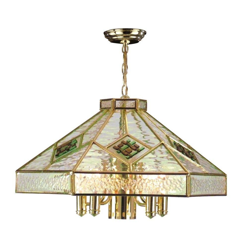 Dale Tiffany Clear 6-Light Gold Hexagon Hanging Fixture