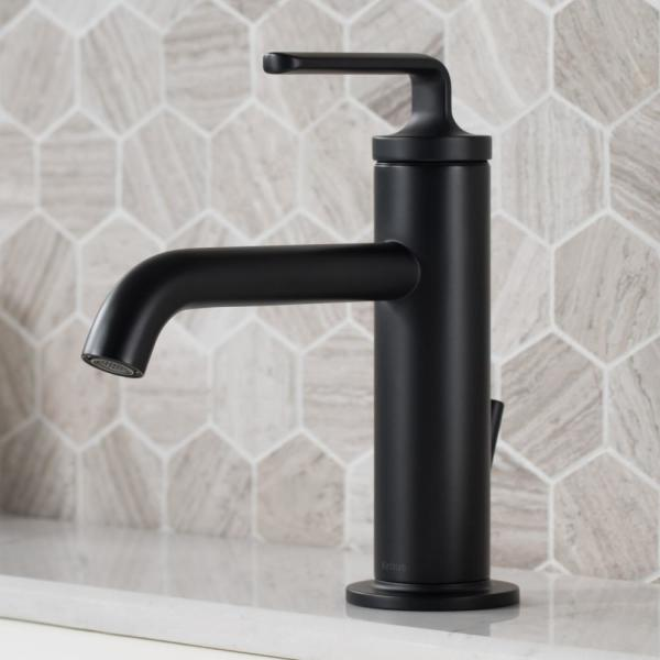 Ramus Single Hole Single-Handle Bathroom Faucet with Matching Lift Rod Drain in Matte Black