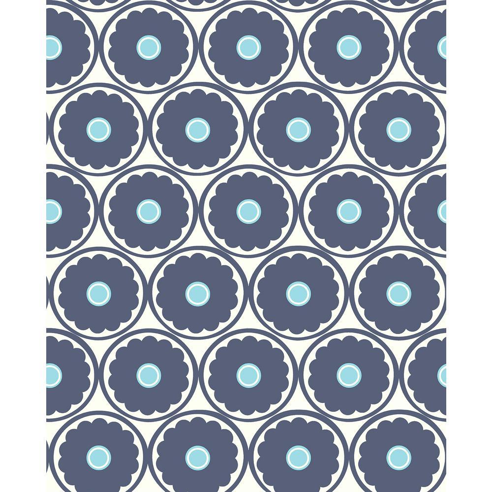 Buttercup Blue Flower Navy/White Wallpaper Sample