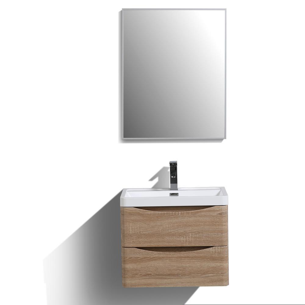Smile 24 in. W x 16.7 in. D x 21 in. H Vanity in White with Acrylic Vanity Top in White Oak with White Basin