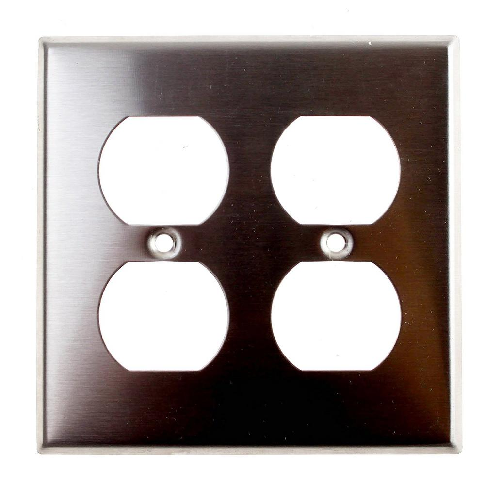2gang standard size 2duplex receptacles and wall plate in stainless steel