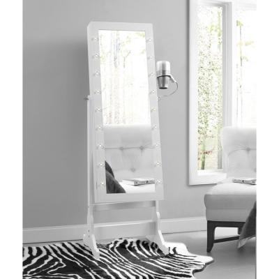 Amelie Marquee LED Light Cheval Floor Mirror White Jewelry Armoire Organizer