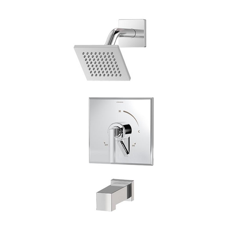 Duro Single-Handle 1-Spray Tub and Shower Faucet with Square Showerhead and