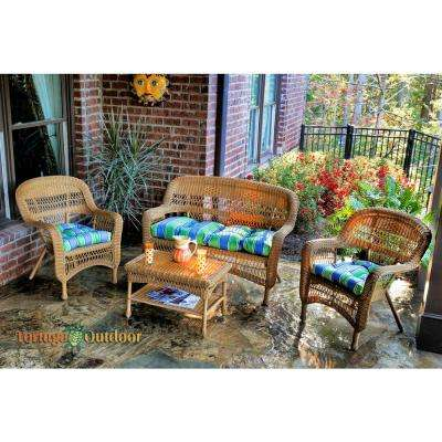 Portside Amber 4-Piece Wicker Patio Seating Set with Haliwell Caribbean Cushions
