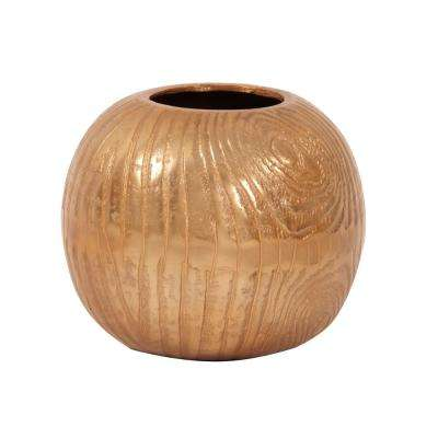 Small Textured Gold Round Decorative Vase