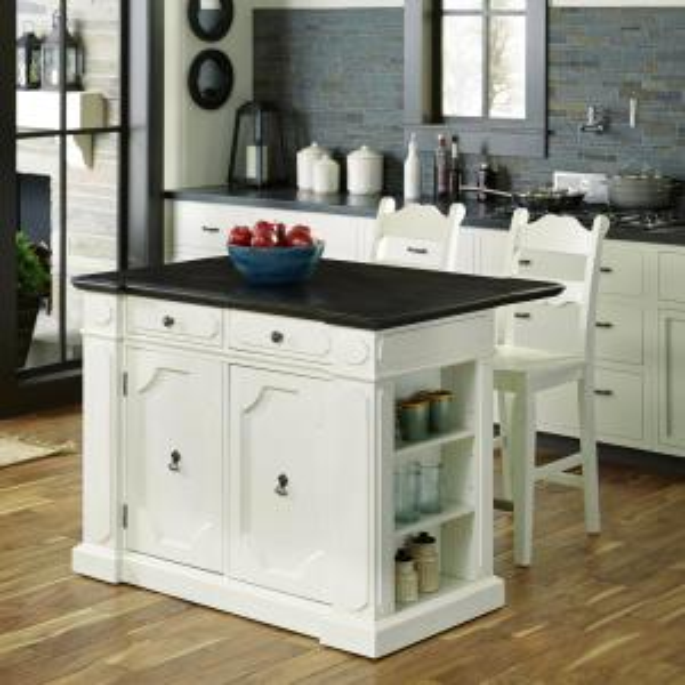 Home Styles Fiesta Weathered White Kitchen Island With Storage