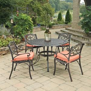 Home Styles Biscayne Rust Bronze 5-Piece Cast Aluminum Outdoor Dining Set with Coral... by Home Styles