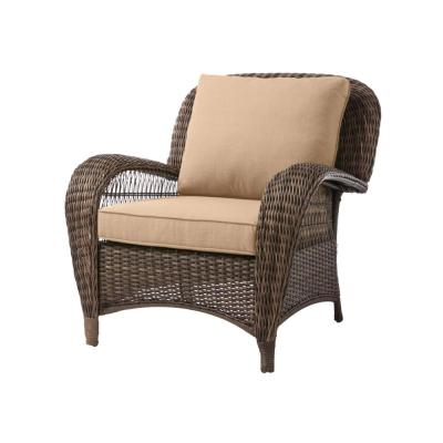 Beacon Park Brown Wicker Outdoor Patio Stationary Lounge Chair with Sunbrella Beige Tan Cushions