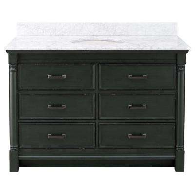 Greenbrook 49 in. W x 22 in. D Vanity in Vintage Forest Green with Marble Vanity Top in Carrara Marble with White Sink