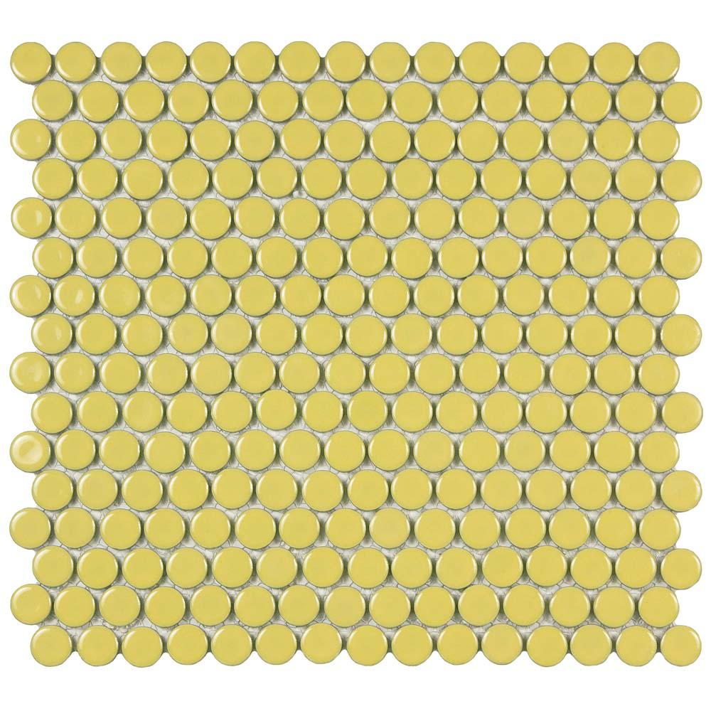 Merola Tile Hudson Penny Round Vintage Yellow 12 in. x 12-5/8 in. x 5 mm Porcelain Mosaic Tile (10.74 sq. ft. / case)