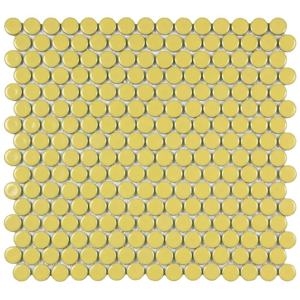 Merola Tile Hudson Penny Round Vintage Yellow 12 In X 5 8
