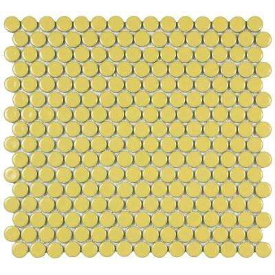 Hudson Penny Round Vintage Yellow 12 in. x 12-5/8 in. x 5 mm Porcelain Mosaic Tile (10.2 sq. ft. / case)