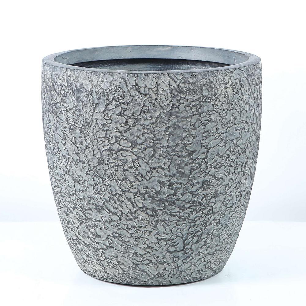 14.8 in. Dia. MgO Fiberclay Blue-Gray Textured Planter