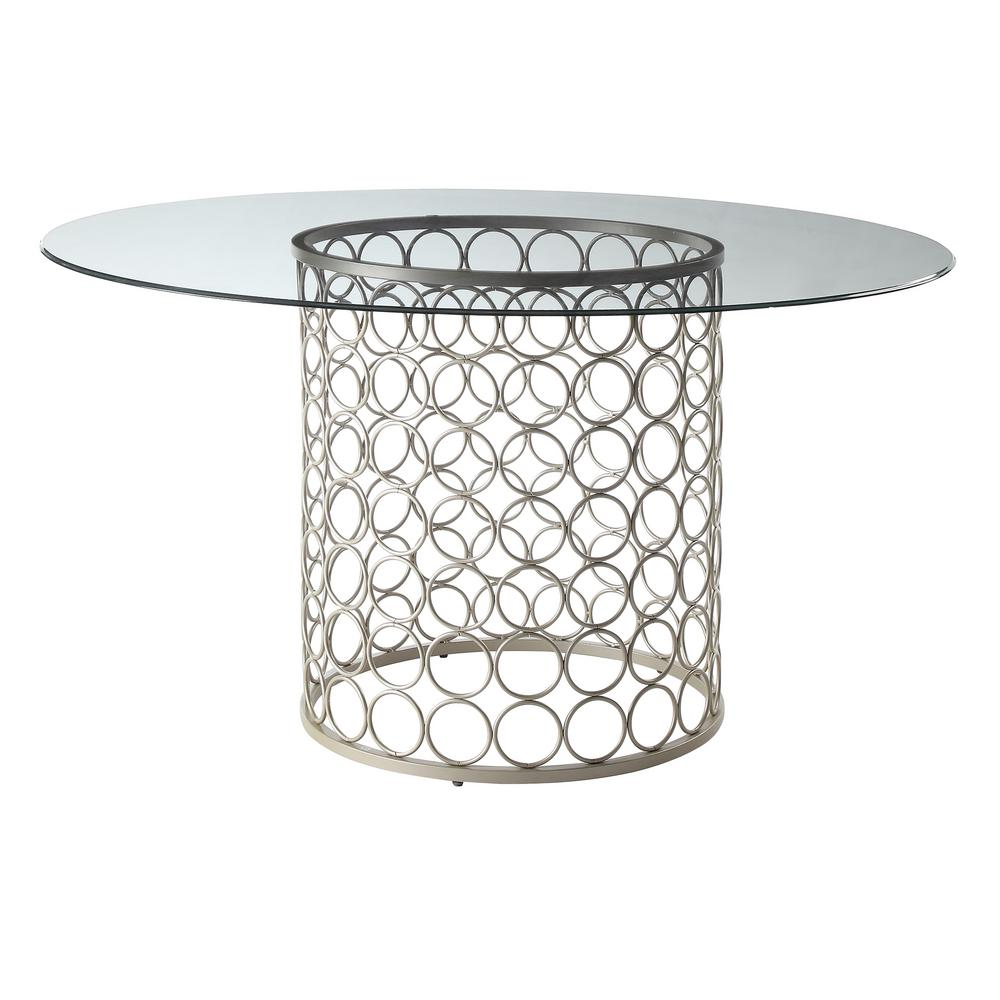 Tiffany Champagne 48 in. Round Dining Table