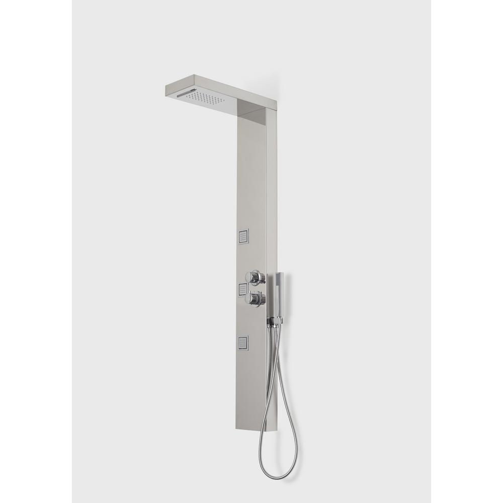 A&E Bath & Shower Capri V Shower Panel System with Rain and Cascade Shower Head and Thermostatic Valve in Stainless Steel