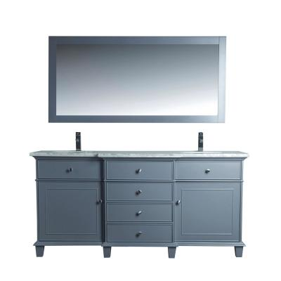 Cadence 72 in. W x 22 in. D Vanity in Grey with Marble Vanity Top in Carrara White, Basins and Mirror