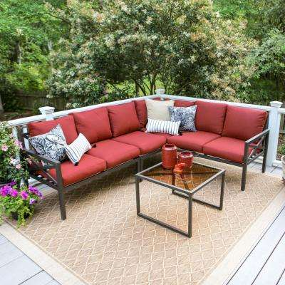 Blakely Black 5 Piece Aluminum Outdoor Sectional With Red Cushions