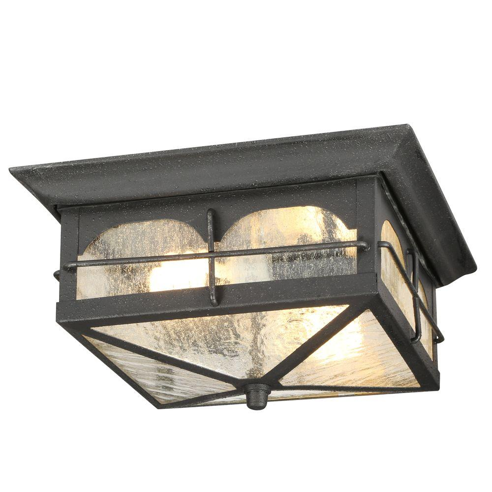 Beautiful Home Decorators Collection Brimfield 2 Light Aged Iron Outdoor Flushmount  Light