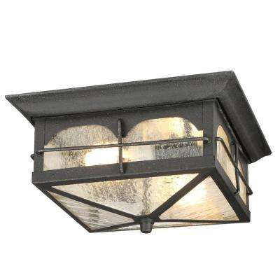 Brimfield 2-Light Aged Iron Outdoor Flushmount Light