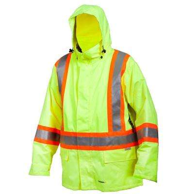 2-In-1 XX-Large Lime Green Jacket Poly/PVC Material with Reflective Band