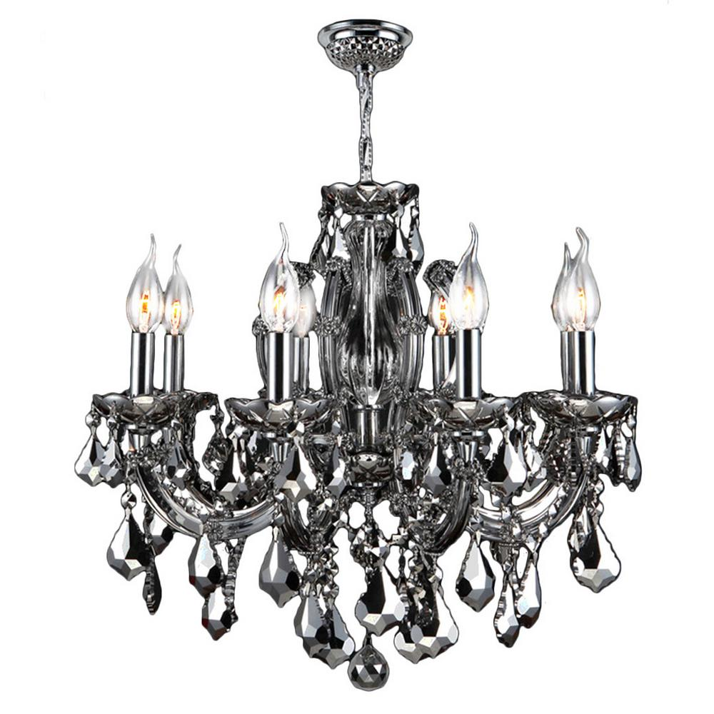 Catherine Collection 6-Light Chrome and Chrome Crystal Medium Chandelier