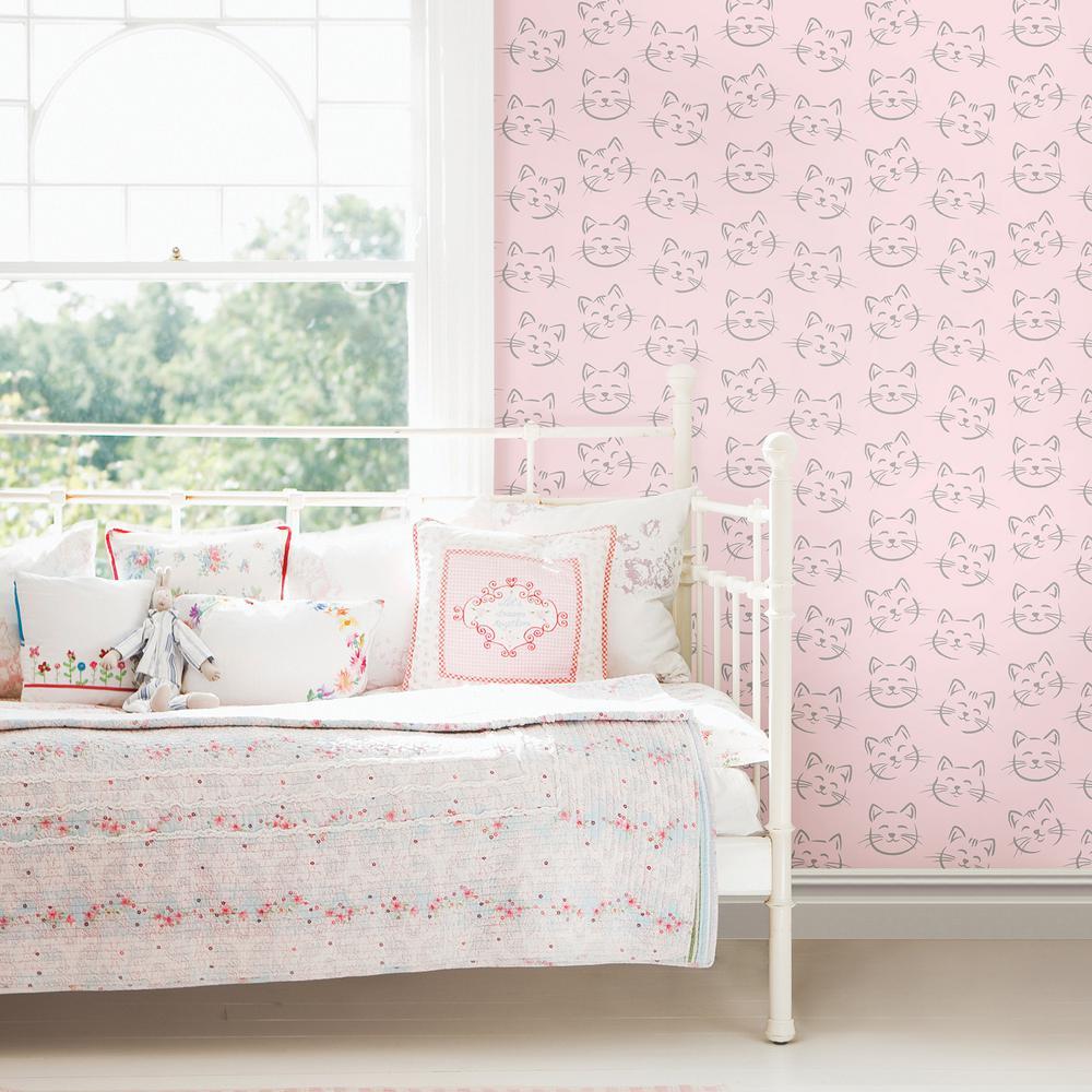 56 4 Sq Ft Purr Pink Cat Wallpaper