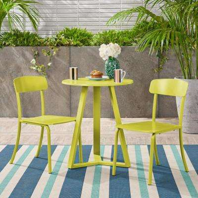 Samos Matte Lime Green 3-Piece Metal Outdoor Bistro Set