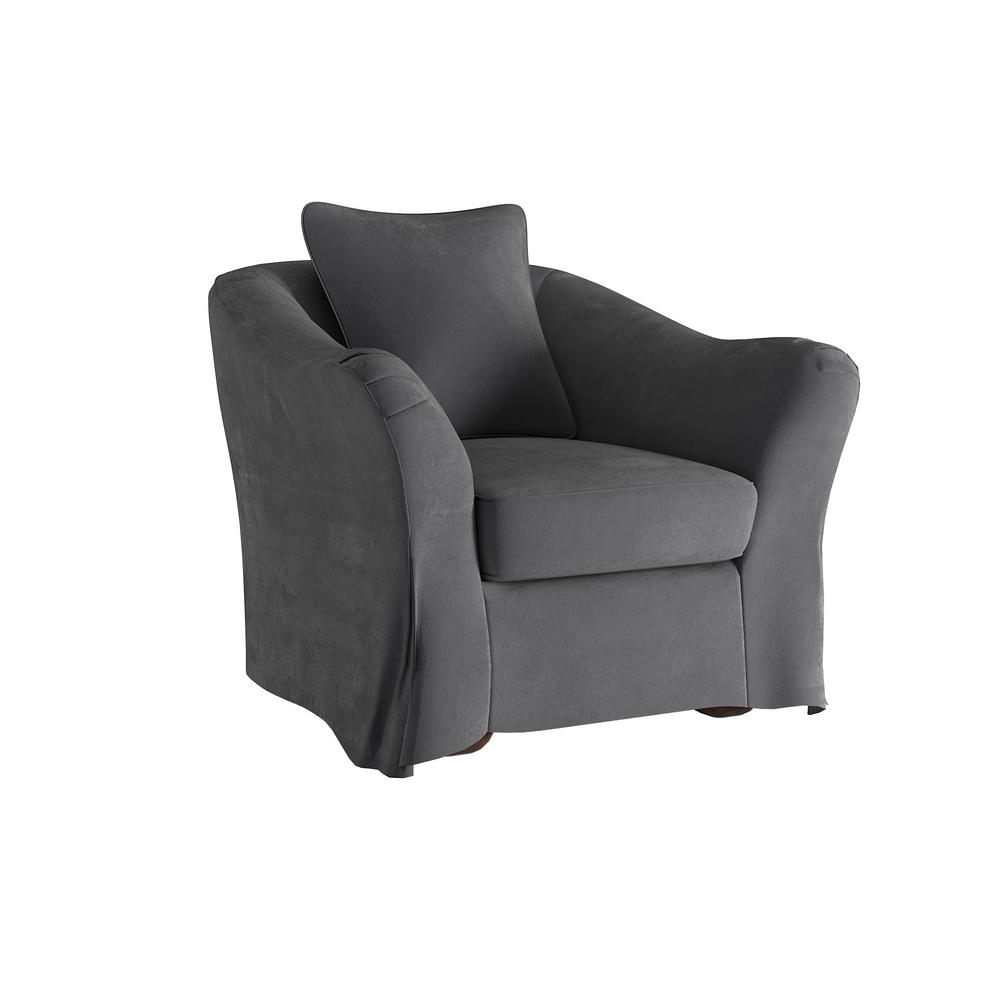 HomeSullivan Sydney Grey Down Filled Slipcovered Arm Chair