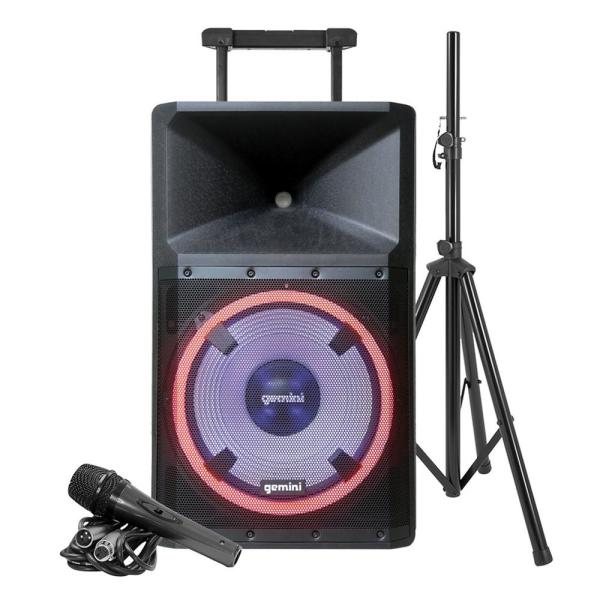 Ultra-Powerful Bluetooth 2,200-Peak-Watt Speaker with Party Lights, Built-in Media Player, Microphone and Stand
