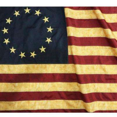 Vintage Style Tea Stained 3 ft. x 5 ft. Nylon Betsy Ross Flag Embroidered Stars Sewn Stripes Antiqued Early USA Flag