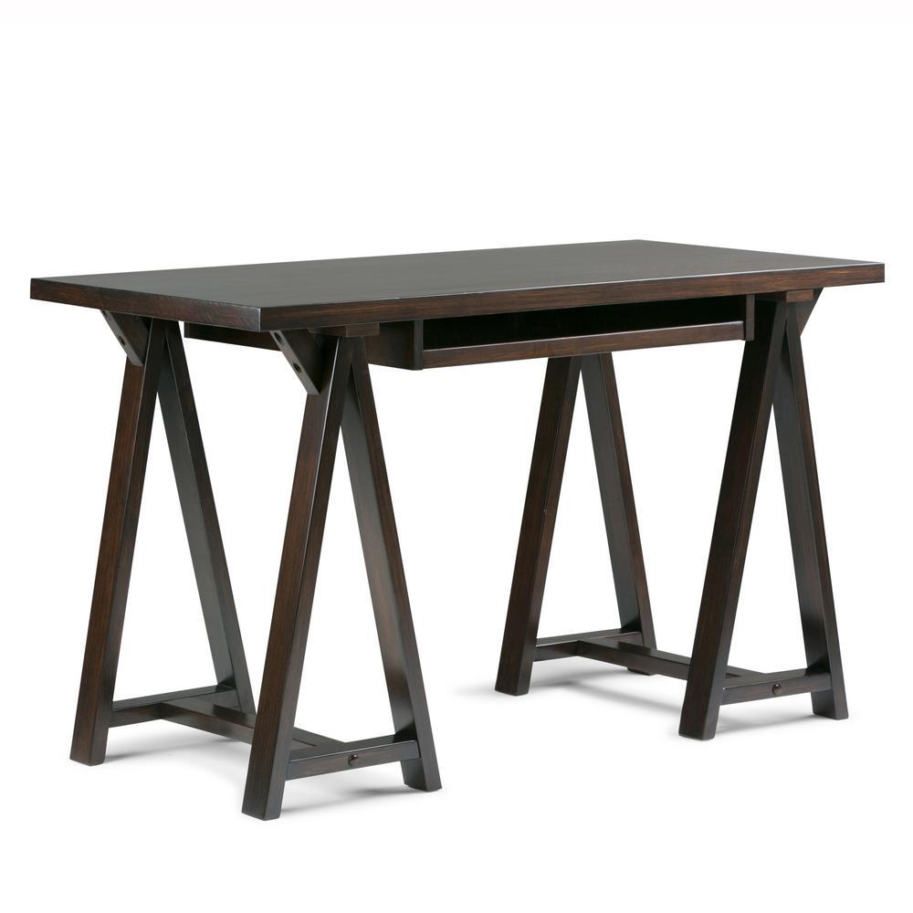 Sawhorse Solid Wood Modern Industrial 50 in. Wide Modern Industrial Small Writing Office Desk in Dark Chestnut Brown