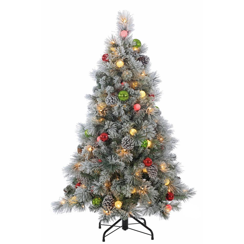 Artificial 4 Foot Christmas Trees: STERLING 4.5 Ft. Pre-Lit Flocked Hard Needle Pine