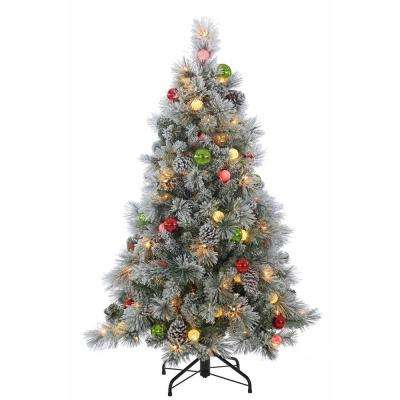 pre lit flocked hard needle pine artificial christmas tree with ornaments - Pre Decorated Christmas Trees