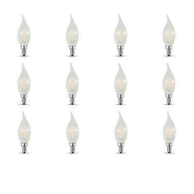 60-Watt Equivalent CA10 Candelabra Dimmable Filament Frosted Glass Chandelier LED Light Bulb, Soft White (12-Pack)