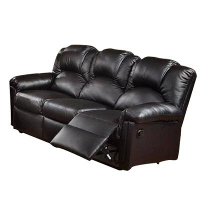 80 in. Black Faux Leather 3-Seat Sofa with Reclining