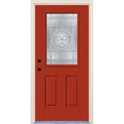 36 in.x80 in. Right-Hand 1/2 Lite Texas Star Decorative Glass Engine Painted Fiberglass Prehung FrontDoor w/ Brickmould
