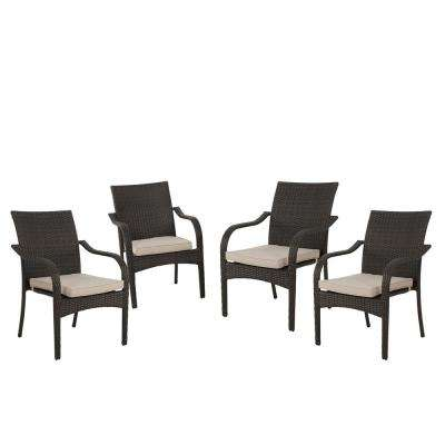 San Pico Brown Stackable Wicker Outdoor Dining  Chairs with Textured beige Cushions (Set of 4)