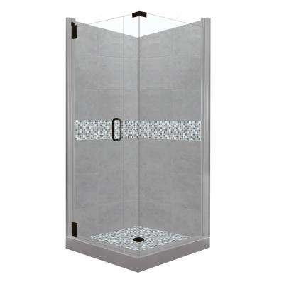 Del Mar Grand Hinged 38 in. x 38 in. x 80 in. Left-Hand Corner Shower Kit in Wet Cement and Black Pipe Hardware