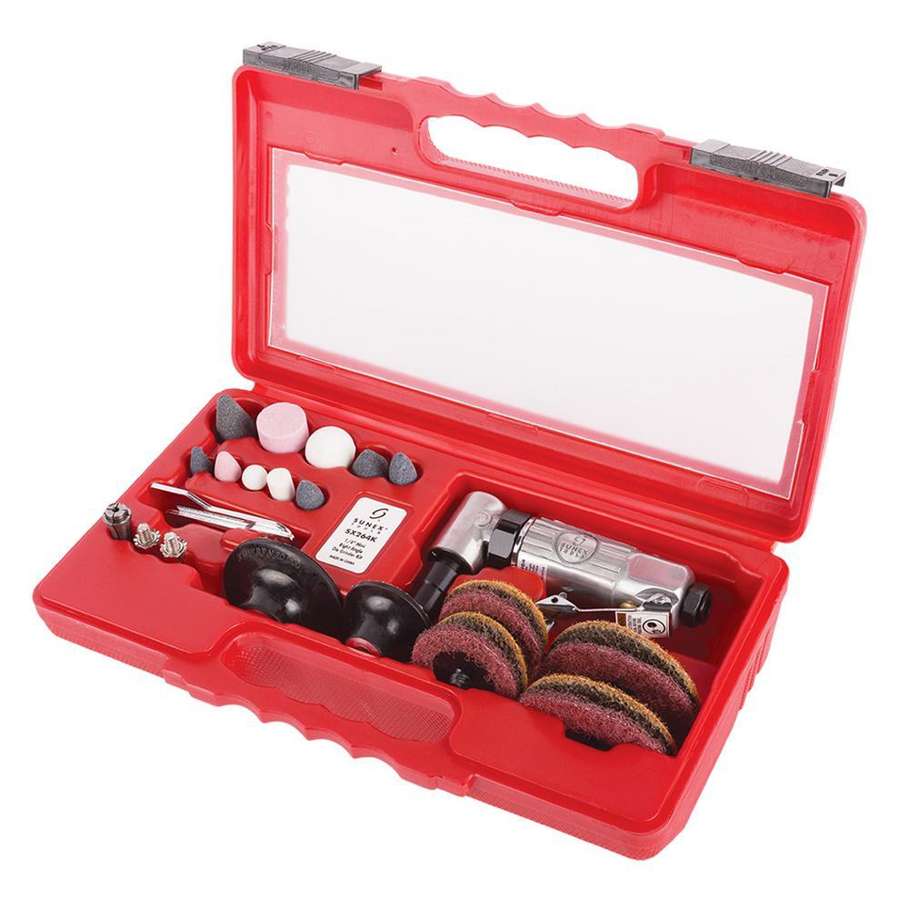 """Sunex-Tools 1/4 """" Mini Ratchet Angle Air Die Grinder Kit"""